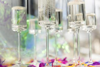 Champagne flutes and confetti