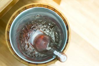 Rosé wine in ice bucket