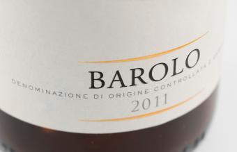 Wine bottle label from Barolo