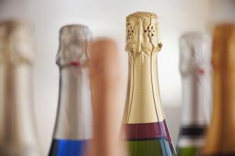 Six champagne bottles