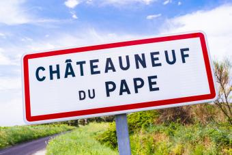 Road sign for Chateauneuf-du-Pape
