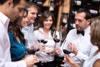 Group of friends wine tasting