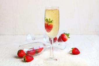 Sweet sparkling wine with a strawberry