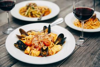 Seafood pasta with wine