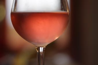 Chilled pink Moscato wine