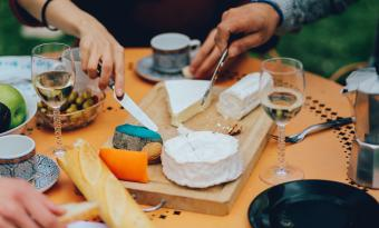 Moscato wine and cheese