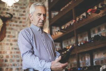 Man in a wine closet