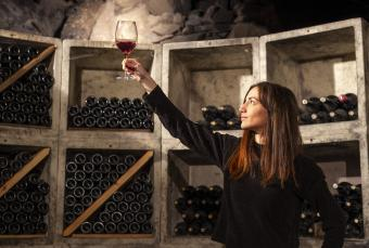 woman in a wine cellar