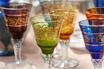 Colorful wine glasses with gold leaf