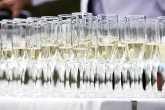 Champagne glasses at a wedding