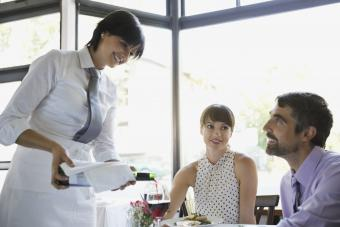 Wine service in a restaurant