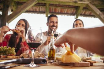 Gathering with wine and cheese