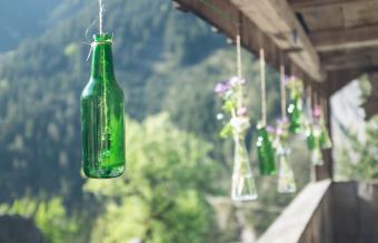 Hanging Wine Bottle Vases and Bells