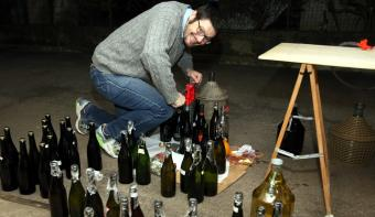 Man making wine in home