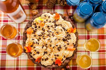 Pumpkin cream pie with white chocolate salted caramel with wine