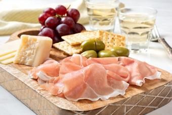 Antipasto platter and white wine