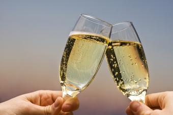 Champagne glasses toast