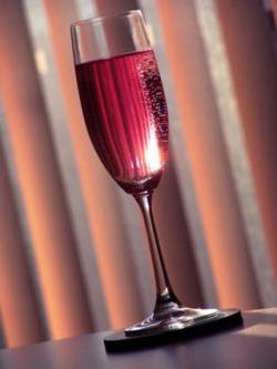 sparkling red wine in glass