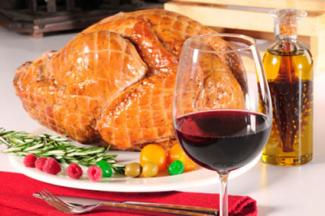 Red wine with roast turkey
