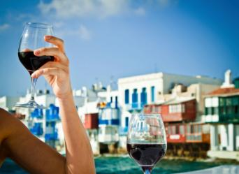 drinking wine in Greece