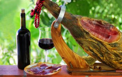 Jamon of spain and red wine