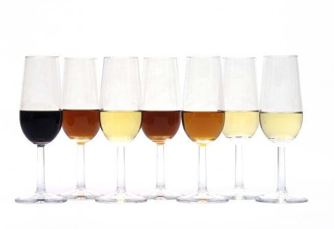 Seven glasses of different sherry wines