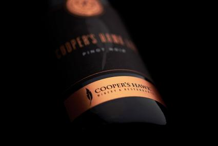 Cooper's Hawk wine bottle detail