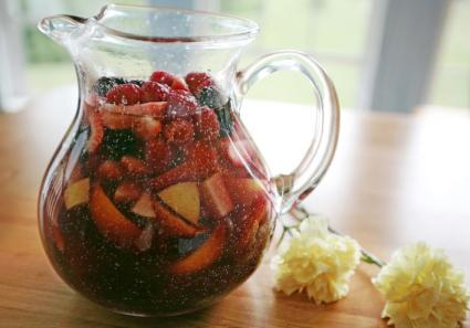 Red wine sangria pitcher on table