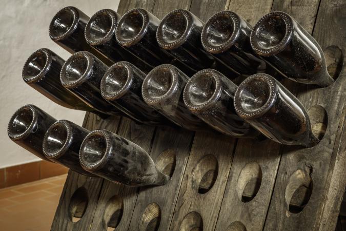 vintage red wine bottles