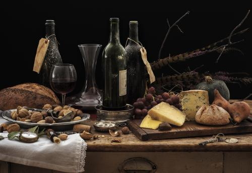 Cheese, nuts, and vintage wine