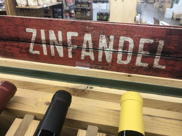 Zinfandel bottles in a wine shop