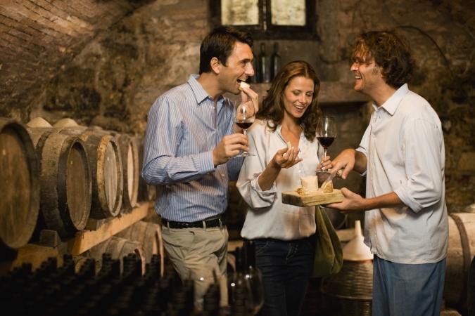 Tasting wine in Tuscany, Italy