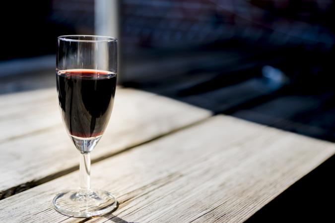 Glass of ruby port