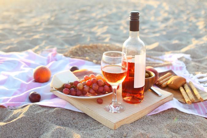 Rosé wine at beach picnic