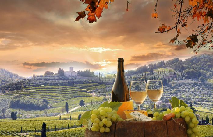 Wine still-life in Chianti, Tuscany, Italy