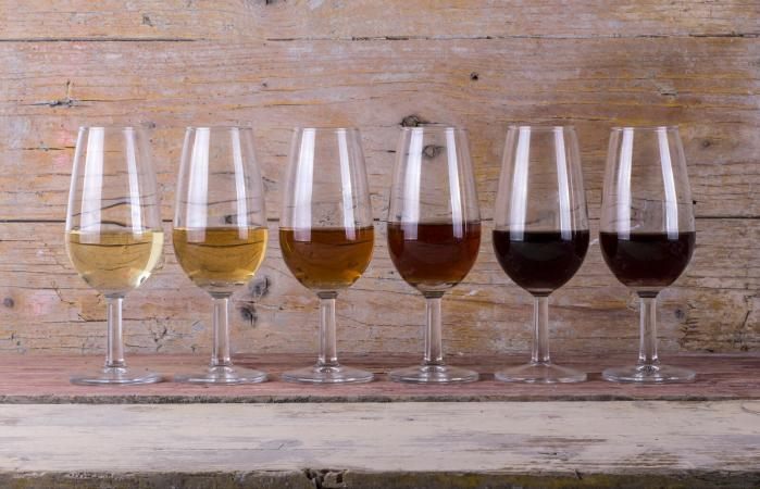 Glasses of different sherry wines