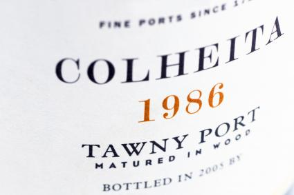 Label on a bottle of vintage port