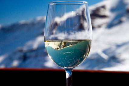 Mountain inside a glass of white wine