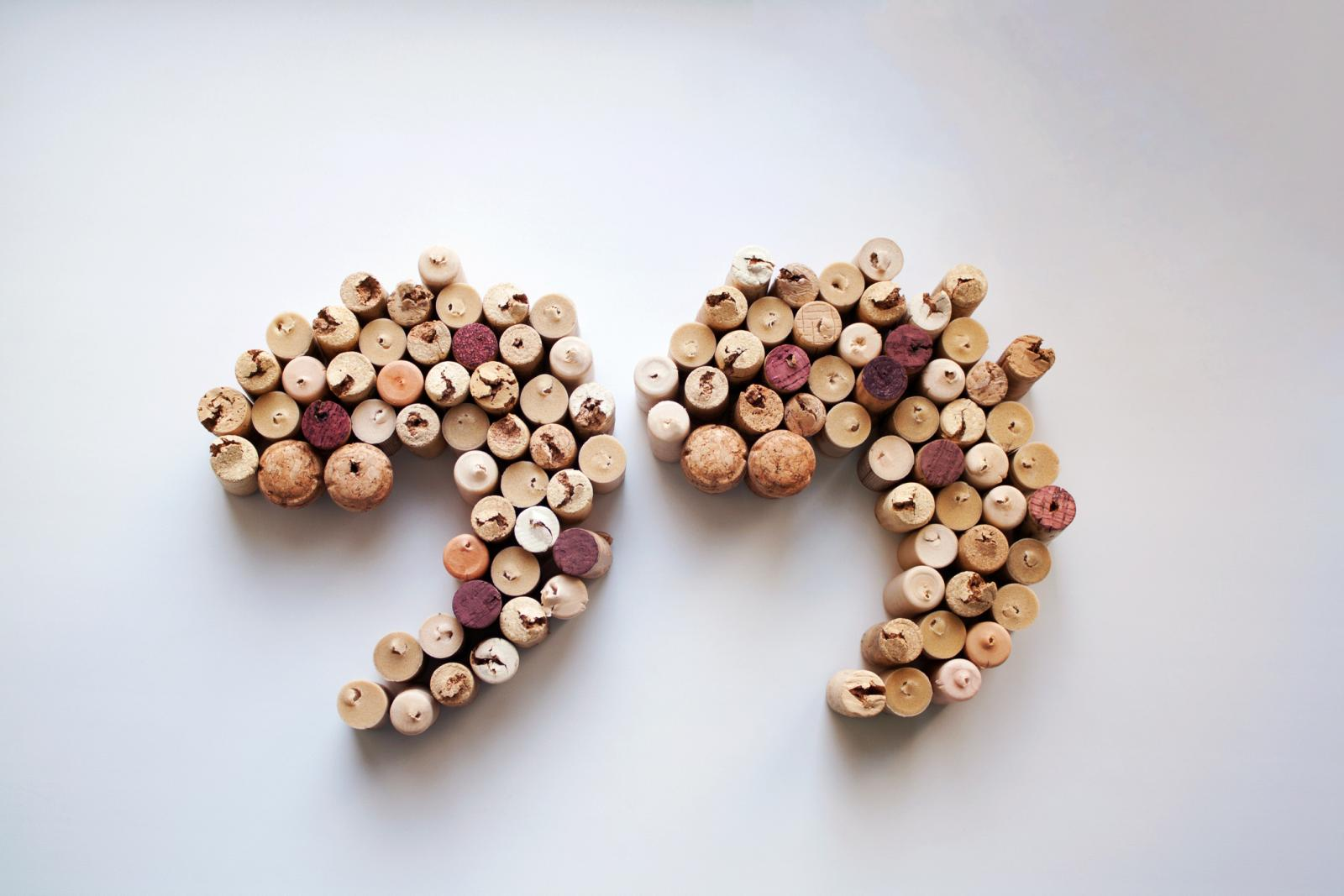 Wine corks quotation marks from above