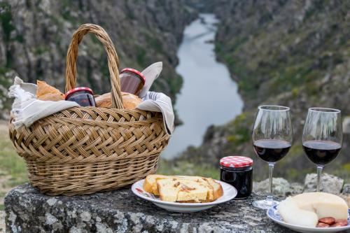 Picnic with jam and wine