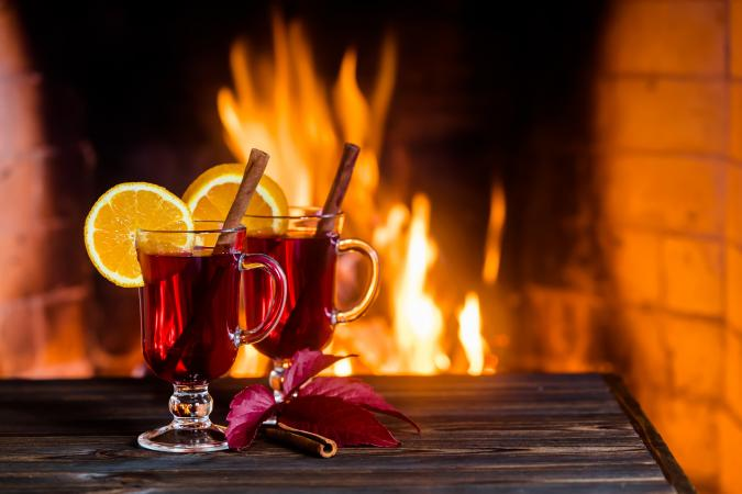 Mulled wine by the fire