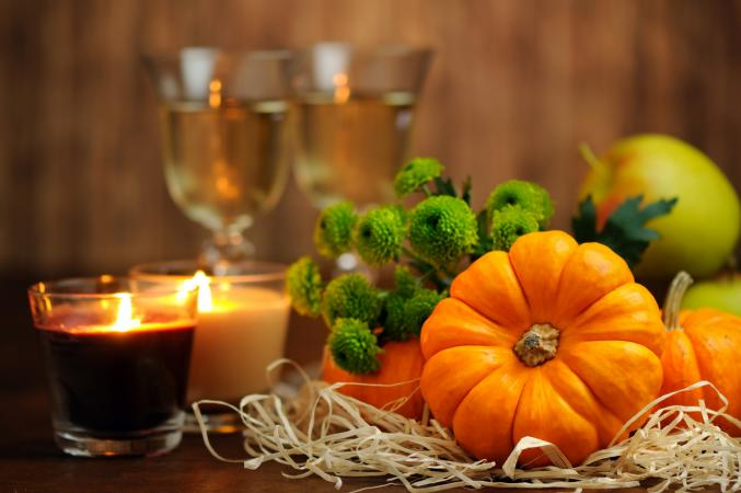 Pumpkins, candles, and wine