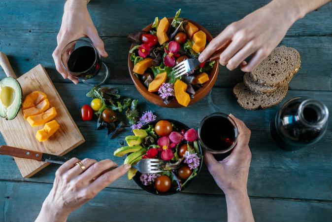 Wine and healthy food