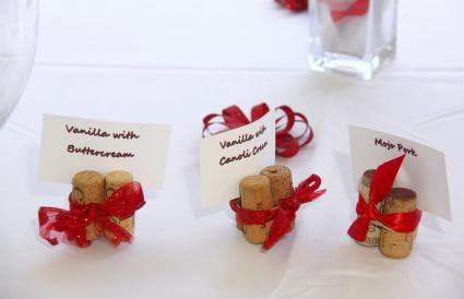 Red and white wedding cork labels