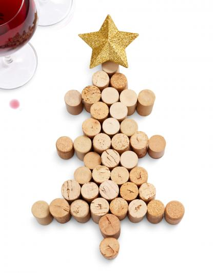 christmas tree form by corks with red wine