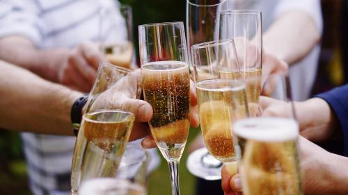 Toasting with sparkling wine