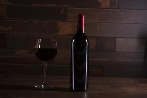 Bottle and glass of Merlot