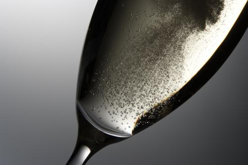 Close-up of sparkling wine in a glass