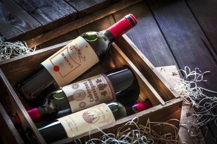 Wine bottles packed in a wooden box