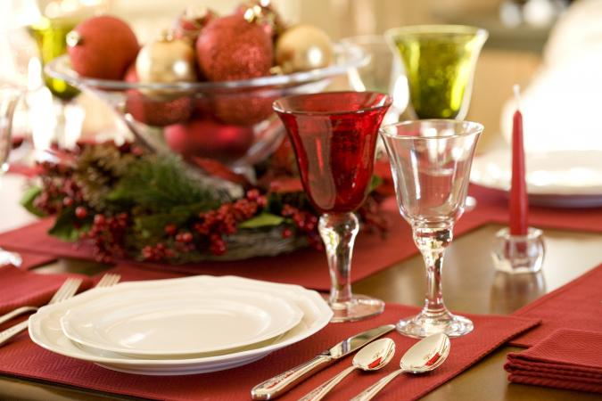 Holiday Table Setting with red and clear wine glasses